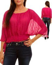 Product Description     SHEER CRIMP TOP WITH WIDE OPEN SLEEVES  http://www.mydivadezigns.com