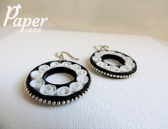 black white earrings paper quilling jewelry by PaperPiecebyEmelie
