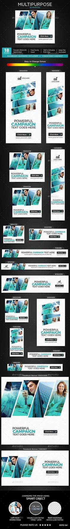 Buy Multipurpose Banners by Hyov on GraphicRiver. Promote your Products and services with this great looking Banner Set. Facebook Ad Size, Web Design, Graphic Design, Banner Template, Banner Design, Social Media, Ads, Templates, Web Banners