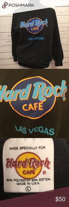 Vintage Hard Rock Cafe Las Vegas large made in USA Vintage and in great condition. Neon colors. Classic Hard Rock Cafe black sweatshirt. 21 arm to arm and 22 shoulder to hem. Must have! Unisex Vintage Tops Sweatshirts & Hoodies
