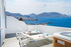 Suite with outdoor Jacuzzi - Kouros Mykonos Town Hotel Mykonos Town Hotels, Jacuzzi Outdoor, Hotel Suites, Greece Sea, Room, Outdoors, Bedroom, Outdoor Tub, Rooms