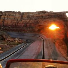 Great pic of the sun setting while riding Radiator Springs Racers #CarsLand
