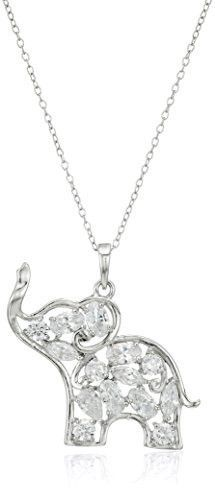 """Rhodium Plated Sterling Silver White Cubic Zirconia Elephant Pendant Necklace, 18"""""""