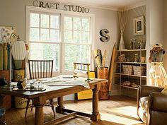 Love the subtle colors of this great craft studio! #scrapbooking #craftstudios