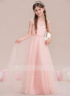 [US$ 73.49] A-Line/Princess Scoop Neck Floor-Length Tulle Junior Bridesmaid Dress
