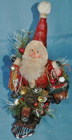 OOAK Santa Riding a Train