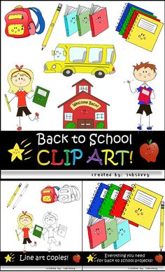 So cute!! Clip art for Back to School projects!