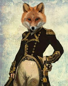 Admiral Fox Full 14x11 Art Print Acrylic Painting Illustration Fox Print wall art wall decor Wall Hanging animal home decor