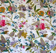 Tissu indien au mètre - paradise blanc