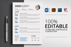 Home of Resumes Inspiration & Ideas, Beautiful Resume Ideas That Work, Find Daily High-quality resumes templates and design, Create your professional resume today ! Resume Design Template, Cv Template, Resume Templates, Print Templates, Design Templates, Resume Tips, Resume Cv, Resume Examples, Resume Ideas
