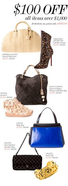 $100 OFF Bottega Veneta, Chanel, Louis Vuitton, Christian Louboutin...