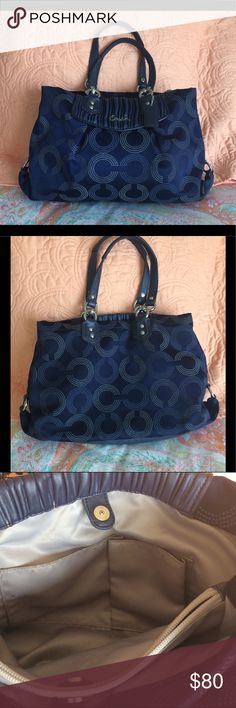 Authentic Coach Ashley Ashley Carry-On Royal Blue Coach Ashley Dotted OP Art Royal Blue Shoulder Bag Handbag Satchel. Silver tone Hardware. Zip top closure. Inside back of bag has zip pocket, inside front of bag has 2 slip pockets. Satin lining. No Hang tag.   F20068. Pre-owned, minor wear and tear & some marks on inside lining. Coach Bags Satchels