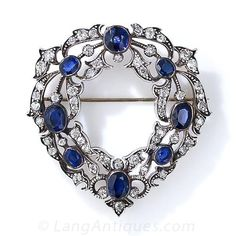 Victorian Sapphire and Diamond Wreath Brooch - 50-3-4569 - Lang Antiques