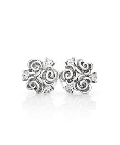 Three rose blossoms are skillfully mastercrafted in sterling Silver and embellished with three white or pink round cubic zirconias, also available in black rhodium finish for definition. Jenna Clifford, Black Rhodium, Sale Items, Studs, Jewelry Design, Stud Earrings, Sterling Silver, Gifts, Things To Sell