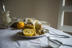 if deb ever has leftov ricotta.Meyer Lemon Ricotta Pancakes, with Chamomile Whipped Cream Brunch Recipes, Breakfast Recipes, Snack Recipes, Lemon Ricotta Pancakes, Crepes, Red Bowl, Homemade Pancakes, Thing 1, Recipe Of The Day