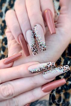 Frensh Nails, Cute Nails, Pretty Nails, Hair And Nails, Best Acrylic Nails, Acrylic Nail Designs, Nail Art Designs, Cheetah Nail Designs, Leopard Print Nails