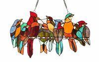 CARDINAL & FRIENDS Birds Sparrow Blue Jay Suncatcher STAINED GLASS WINDOW PANEL