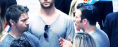 Jeremy Renner, Chris Evans || SDCC 2014 || 500px × 200px || #actors #animated