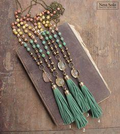 Borla verde collar moldeado boho collar joyería Bohemia collar #homemadenecklace
