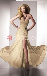 Trumpet/Mermaid Sweetheart Floor-length Chiffon High Side Silt Evening Dress
