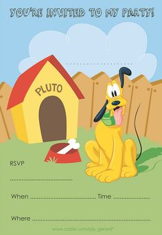 This is a one-stop page filled with fabulous Mickey Mouse and other Disney party ideas, including free, printable invitations and decorations. Pluto Disney, Disney Mickey Mouse, Mickey Mouse Y Amigos, Mickey Mouse Parties, Mickey Party, Mickey Mouse And Friends, Minnie Mouse, Mickey Mouse Clubhouse Birthday, Disney Birthday