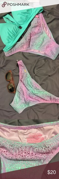 NWT Victoria's Secret Pastel Bikini Bottoms NWT pastel ombré the itsy style bikini bottoms. Still has tag and protective liner. Ruching in back. Selling only no trades. Thank you for checking out my closet. Victoria's Secret Swim Bikinis