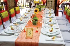 Wedding Day Brunch- Orange and Daisy Tablescape
