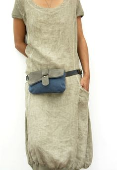 BLUE Leather and canvas Hip Bag Bum Bag Fanny Pack by RuthKraus