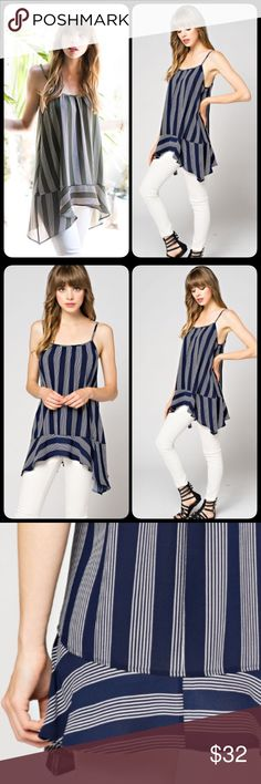 COMING WED  Sharkbite Asymmetrical Tank Blouse Beautiful tunic tank in a striped print and shark bite asymmetrical hemline. So adorable and perfect for the summer! S M L. Only blue available Tops Blouses