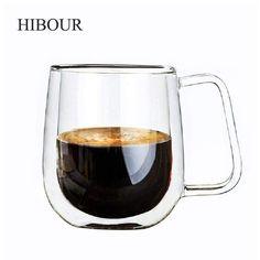 Wallmart.win HIBOUR Coffee Cups Set Tea Mugs Handmade Creative Beer Drink a Mug of Office Mug Transparent Drinkware Double Glass Cups