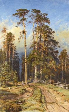 """art-and-things-of-beauty: """"Ivan Shishkin - Pine Forest, oil on canvas, 147 x 91 cm. Forest Mural, Forest Art, Pine Forest, Russian Landscape, Landscape Art, Landscape Paintings, Russian Painting, Russian Art, Traditional Landscape"""