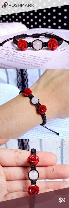 🌹Red Rose Quartz & Black Nylon Bracelet 🔮Bundle for 10% off + FREE Bracelet🔮  •Material: Black string in a square-knot macrame style featuring a rose quartz with 2 red rose charms.  •ⓢⓘⓩⓔ: Adjustable knot! (Fits 5 in. to 8.5 in. around wrist)  •Coachella/rock/edc/raves/Friendship/Weaved/Gypsy/Bohemian/Rocker/Rockabilly/pinup/Psychobilly/50s/Fifties/Gothic/Goth/Dark/Victorian/Halloween/Christmas/gift/wicca/natural/trendy/embroidered Handmade by me! Jewelry Bracelets