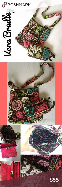 FLASH SALE Vera Bradley Crossbody & Wallet Vera Bradley Lola Crossbody Bag and Matching Wallet. Perfect all season Vera starter set or add to your collection!  In loved condition as seen in photos but so much more life left in this set! Pictures don't do it justice! Vera Bradley Bags Crossbody Bags