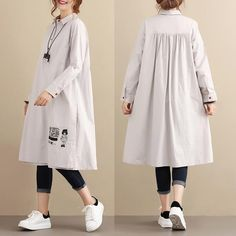 Casual Loose Cotton Long Sleeves Pleated Gray Dress