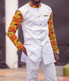 Tunde African men's suit// men's clothing, African dashiki, … – Shirt Types African Shirts For Men, African Dresses Men, African Attire For Men, African Clothing For Men, African Men Fashion, African Wear, African Style, Africa Fashion, African Outfits