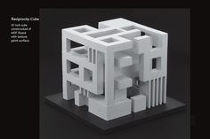"An architectural student design project that demonstrates a balanced reciprocity of solid and void (positive/negative space). The design uses ""seed shapes"" that are combined to form a 10 inch square cube. The design should display a balance of solid and void of each side, and of the overall design..."