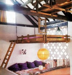 bohemian bunk beds // multi level bunks with suspended ladders // industrial chic bunk beds