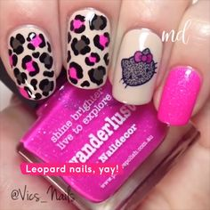 How to create leopard nail art Tutorial Leopard Nail Art, Leopard Print Nails, Animal Nail Art, Dot Nail Art, Pink Nail Art, Pink Cheetah Nails, Animal Nail Designs, Leopard Prints, Red Nail