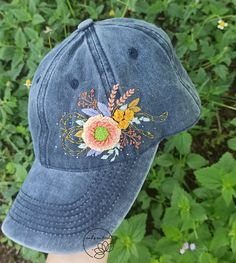 Embroidered Caps, Embroidered Flowers, Floral Embroidery, Hand Embroidery, Handmade Headbands, Floral Headbands, Denim Cap, Floral Denim, Meaningful Gifts