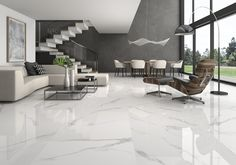 White Soul. Inspired by the classic statuary marble, an elegant material that plays with white and grey creating a style that fits with a largue number of options and combinations. Available in multiple formats.