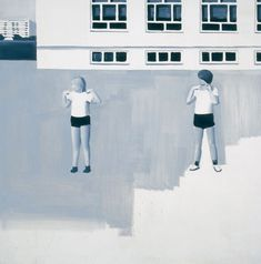 Gym Lesson (by polish artist Wilhelm Sasnal) offers a colourless documentation of children at play, reminiscent of Soviet social painting stripped of all joyous idealism. Painting People, Painting For Kids, Figure Painting, Painting & Drawing, Wilhelm Sasnal, Luc Tuymans, Airplane Drawing, Saatchi Gallery, Galleries In London