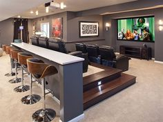 Man cave home theater ideas man stuff for styling and personalizing stuff for house home diy . man cave home theater ideas Movie Theater Rooms, Home Cinema Room, Movie Rooms, Home Theatre Rooms, Small Movie Room, Theater Room Decor, Zigarren Lounges, Man Cave Basement, Basement Bathroom