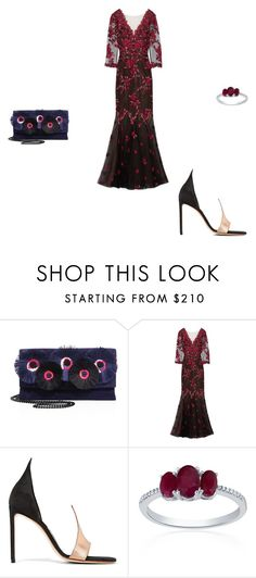 """""""Untitled #10538"""" by explorer-14576312872 ❤ liked on Polyvore featuring Loeffler Randall, Notte by Marchesa, Francesco Russo and Belk & Co."""