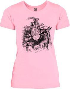 Big Texas Animals and the Mirror Vintage Illustration (Black) Womens Fine Jersey T-Shirt