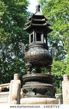 ANTIQUE CHINESE TEMPLE INCENSE BURNERS | censer in zhongshanling antique candlestick and burning censer sepia