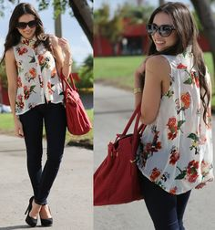 Romwe Top, Pop Of Chic Necklace, Mango Sunglasses, Forever 21 Jeans, Steve Madden Shoes, Mimi Boutique Bag