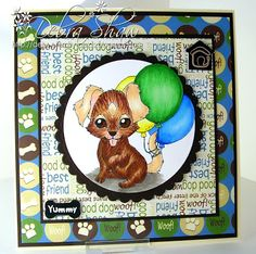 Debs Bat Cave: Spesch Designer Stamps August Release. Puppy with Balloons Digital Stamp by Christina