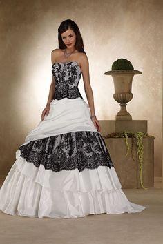 Brautkleider schwarz weiße Extravagante Brautmode,