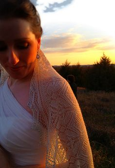 my friend Karen's (Around the Twist) wedding veil - such a beautiful bride - Leslie of the Knitgirllls made this a labor of love