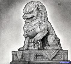 Japanese Guardian Lion Drawing How to draw a foo dog